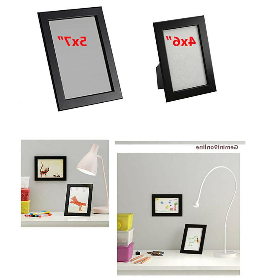 "IKEA Picture Frame FISKBO 1 to 4-Pk Black 4x6"" 5x7"" Wood NEW"