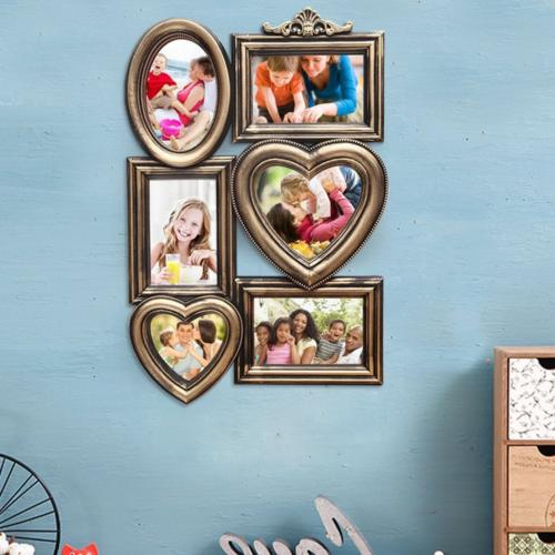 plastic 6 photos pictures frame placard display