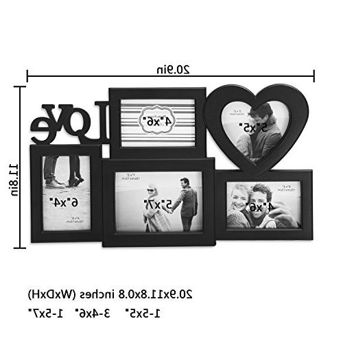 Adeco 5 Openings Black Love hanging Frame to 5x5, One 4x6 Photos