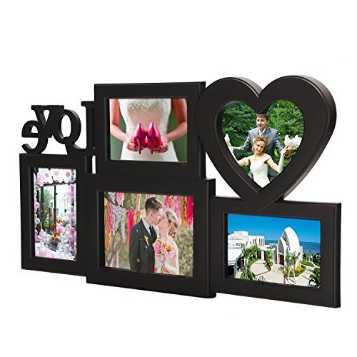 Adeco Openings Decroative Black Love hanging Made to One 5x7 Three 4x6 Photos
