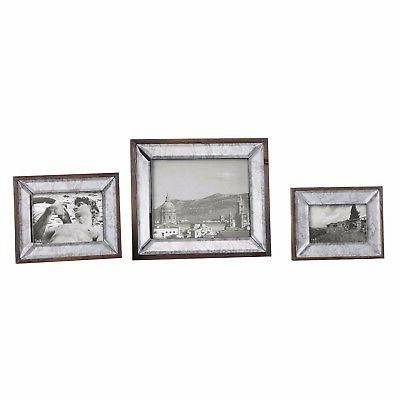 THREE BEVELED ANTIQUED & SOLID PICTURE PHOTO