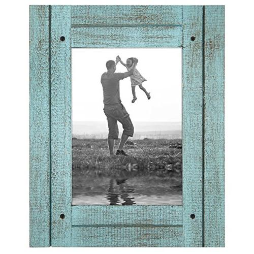 turquoise blue distressed wood frame
