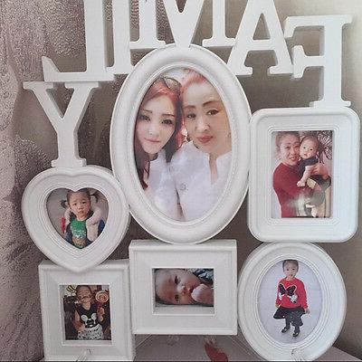 White Plastic Family Photo Frame Wall Hanging Picture Holder Display Home