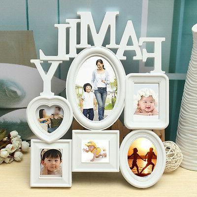 White Plastic Family Frame Wall Hanging Picture Holder Display Home
