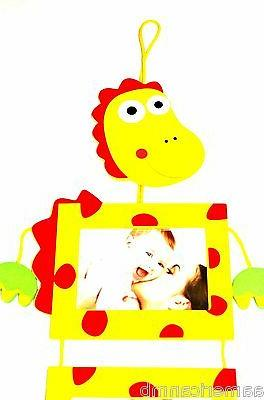 Yellow Dino Dinosaur 3 Wooden Photo Frames Picture