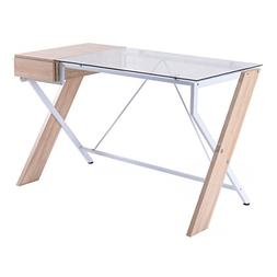 TANGKULA Laptop Computer Desk Wood w/Glass Tabletop for Home