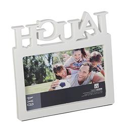 "Breeze Point 4"" x 6"" Laugh Frame with Glass Face, White"