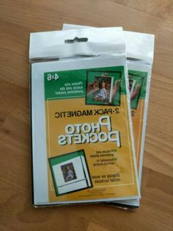 """Lot of 4 Magnetic Photo Pockets 4"""" x 6"""" Sleeves Flexible Dis"""