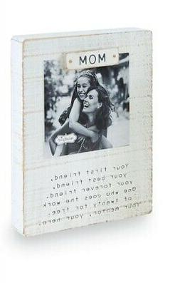"Mud Pie Magnet Wood Block Photo Frame 6"" x 8"" ""Mom"""