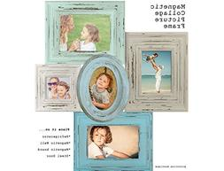 MAGNETIC COLLAGE PICTURE FRAME-Blue & Grey picture vintage s