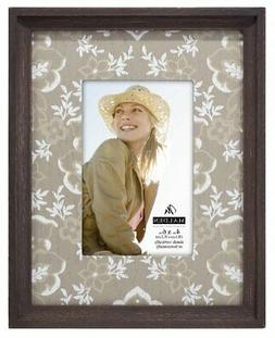 Malden Distressed Wood Picture Frame with Floral Wood Mat Pi