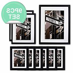 The Display Guys ~ 9 Piece Matte Black Solid Pine Wood Photo
