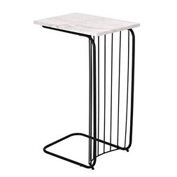 Adeco C-Sharped Accent Table, Marble Style Table Top with Bl