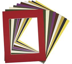 Pack of 10 MIXED COLORS 16x20 Picture Mats Matting with Whit