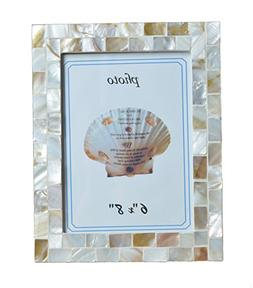 GIFTME 5 Mother of Pearl Pictures Frames,Coastal Wall Mount