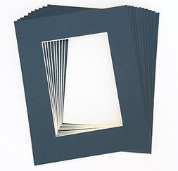 Pack of 10 NAVY BLUE 11x14 Picture Mats Matting with White C