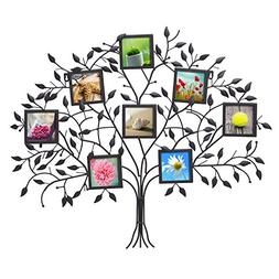 Adeco PF0566 Family Tree Black Metal Wall Hanging Decorative
