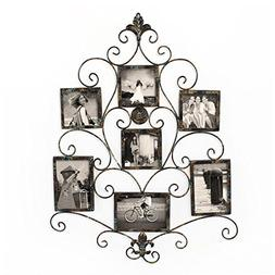 Adeco PF0601 7-Opening Metal Photo Picture Collage Frame, An