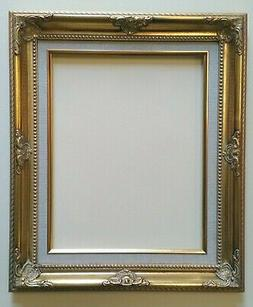 """Picture Frame- 18x24"""" Ornate Gold Color with Linen Liner- Wo"""