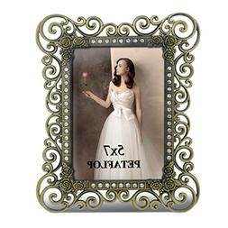 PETAFLOP 5x7 Picture Frame Antique Metal Photo Frames 5 by 7