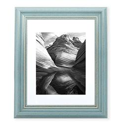 11x14 Picture Frame Antique Teal - Matted to 8x10, Frames by