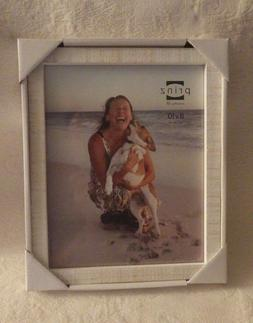 """Prinz Picture Frame Distressed White Wood Holds 8"""" x 10"""" Pic"""