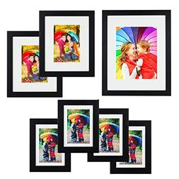 Icona Bay 7pc Black Picture Frame Gallery Set, One 11x14 , T