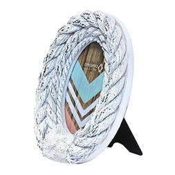 Concepts Picture Frame Photo White Rope Oval Nautical Shabby