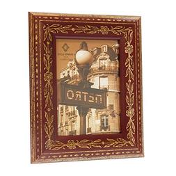 Concepts in Time Picture Frame Rounded Wood Aged Gold Etched