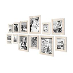 Set of 12 Picture Frames, Beach-House Style, Rustic, White,