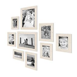 Set of 9 Picture Frames, Beach-House Style, Rustic, White, S