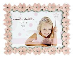 L&T Pink Enamel Picture/Photo Frame Metal with Silver Plated
