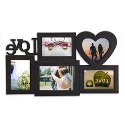 Adeco 5 Openings Decroative Black Love Collage Wall hanging