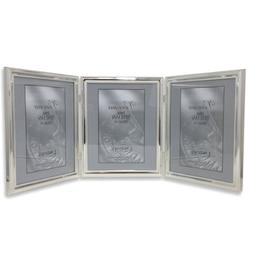 Lawrence Frames Plated Bead Hinged Triple Picture Frame