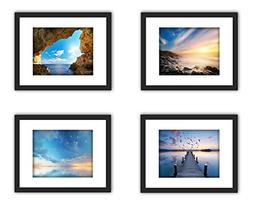 """4x Real Glass Wood Frame Black Fit 11x14""""  , 3 Kind Matted F"""