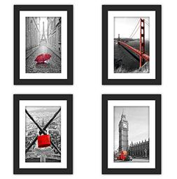 """4x Real Glass Wood Frame Black Fit 5x7"""" ,1 Mat Matted Fit Im"""