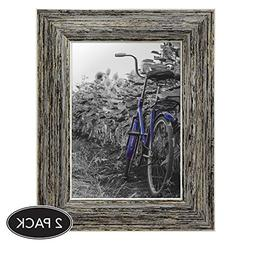 2-Pack, 5x7 inch Tan Rustic Picture Frame with Easel, Made f
