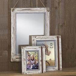 Prinz Rustic River Wood Frame in Distressed White Finish, 5