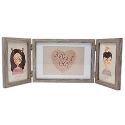 SUMGAR Rustic Three Picture Frame 4x6 and 5x7 Wooden Hinged