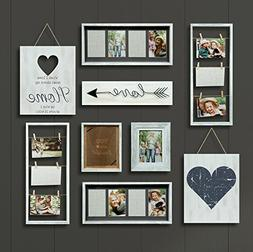 GALLERY PERFECT 9 Piece Rustic Whitewash Collage Frame Wall