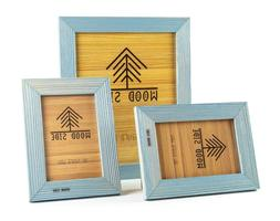 Rustic Wood Picture Frames, 3 Pack - One 8 x 10 and Two 4 x