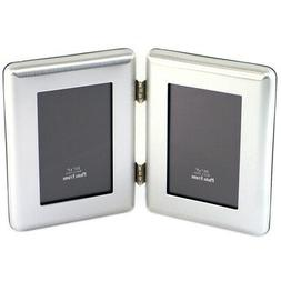 """Silver Plated 3.5"""" x 5"""" Janus I Hinged Double Picture Fr"""