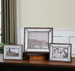 THREE BEVELED ANTIQUED MIRROR & SOLID WOOD FRAMES PICTURE PH