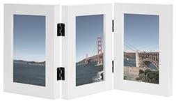 Frametory 4x6 Inch Triple Hinged White Picture Frame - Stand