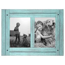 Americanflat 5x7 Turquoise Blue Collage Distressed Wood Fram