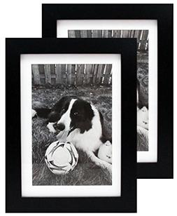 Two 5x7 Black Gallery Picture Frames with Mat to 4x6 - Wide