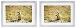 Golden State Art Two 5x7 Picture Frames - Silver Aluminum  -