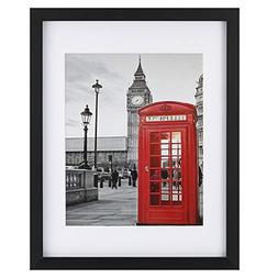 Upgraded Tempered Glass 11x14 Picture Frame with Mat for 8x1