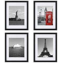 Upgraded Tempered Glass 4Pcs 11x14 Picture Frame with Mats f