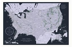 USA Map Frame National Parks - Persoanlized United States Ma